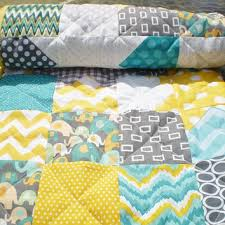 Shop Yellow And Grey Baby Quilts on Wanelo & Baby elephant quilt,Patchwork crib blanket,baby boy bedding,baby girl quilt, Adamdwight.com