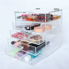 whole top flip lid tabletop makeup organizer custom hot 4 drawers clear acrylic makeup organizer