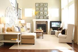 Apartment:Comely Living Room With Neutral Off White Tone Also L Shaped Sofa  With White