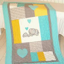 Best Gray And Yellow Baby Blanket Products on Wanelo & Baby blanket, elephant quilt bedding, aqua yellow gray nursery decoration Adamdwight.com