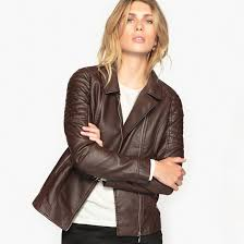 women anne weyburn faux leather biker jacket chocolate brown zsl 85514