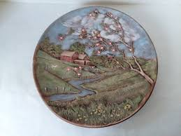ceramic wall plaque farm house scene barn apple blossom blue birds 13 wall art