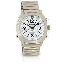 reizen talking atomic watch white face black numbers leather reizen talking atomic watch top light expansion band talking watches maxiaids
