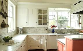 small tile backsplash sea blue accents and subway tile kitchen tile ideas with white cabinets small