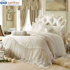 princess lace cotton luxury bedding sets queen king size beige pink red purple color cotton bedskirt pillowcase duvet cover set in bedding sets from home