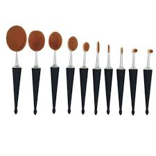 chileelove 10 piece new oval umbrella shaped base makeup brushes kits for bulk powder blush concealer foundation eyeliner in makeup scissors from beauty