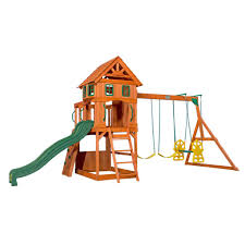 families with large yards backyard discovery also offers a number of swing sets that are perfect for smaller yards like the atlantis wooden swing set