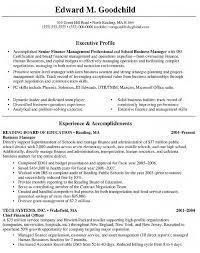 Executive Profile For Accomplished Senior Finance Management