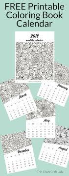 Free Printable 2018 Adult Coloring Calendar