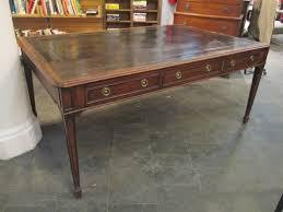 a burr elm partners desk tan leather top partners desk partners desk and desks