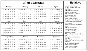 Printable Calendars For 2020 Free Download Indonesia Calendar 2020 Pdf Excel Word