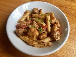 homemade cajun pasta with sausage and