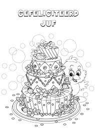 Kleurennu Verjaardagstaart Juf Kleurplaten Intended For Juf
