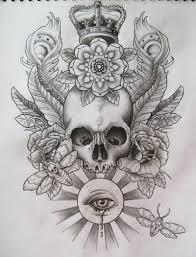 Skull Crown N Flowers Tattoo Sketch Tattoos Book 65000 Tattoos