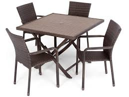 havana 5 pc resin wicker set with 42 square folding table