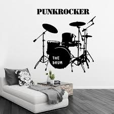 drum set wall graphic decal musical instruments sticker living room sofa background wallpaper fashion decoration in wall stickers from home garden on  on metal drum set wall art with drum set wall graphic decal musical instruments sticker living room