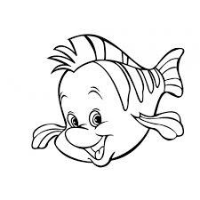 Disegno Di Pesce Flounder Della Sirenetta Da Colorare Per Bambini