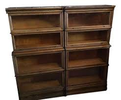 pair of oak four stack step back bookcases 950 each