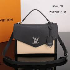 lv louis vuitton my lockme handbags m54878 real leather bag black beige 3a