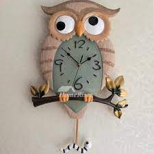 chic owl battery wall clocks carved