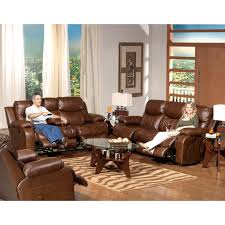 Leather Reclining Living Room Sets Catnapper Dallas Leather Reclining Sofa Set Tobacco Sofas