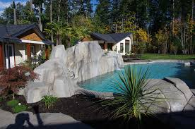 natural looking in ground pools. In-ground Natural Looking Swimming Pool With Artificial Rock Wall In Ground Pools I