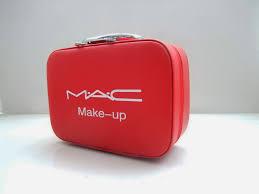 mac makeup box red color zipper handbags cosmetic bag