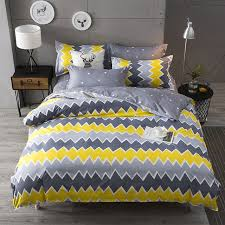 yellow gray stripe plaids bedding sets twin queen single double bed 3 4pcs bed linen