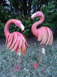 pink flamingo garden pair coastal