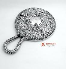 ornate hand mirror. Sterling Mirrors Hand Mirror Ornate Floral Silver .