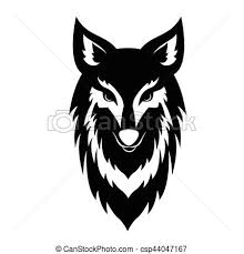 wolf face black and white.  Black Black Wolf Face Logo  Csp44047167 In And White 2