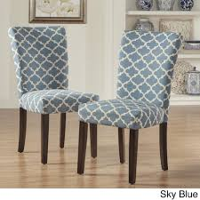 catherine moroccan pattern fabric parsons dining chair by inspire q set of 2 sky blue set of 2 rubberwood