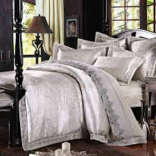 luxury silver jacquard bedding set with lace queen king size natural comforter sets new 7