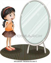 girl looking in mirror clipart. girl looking at mirror clipart in m