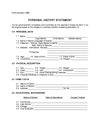 Personal Description Fillable Online Personal History Statement Form For Foreign Students