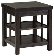 Rustic Distressed Black Square End Table With 2 Shelves