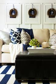 Living Room Blue And Brown Fall Decor In Navy And Blue