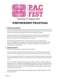 Partnership Proposal Samples Sydney Pacfest 2014 Partnership Proposal