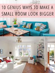 How To Make A Small Room Look Bigger Genius Ways Decoration White Or Blue  Sofa Hanging Storage