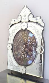 a3223 beautiful antique french etched venetian mirror frame with wax flower display