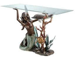 mermaid and dolphin glass top console table