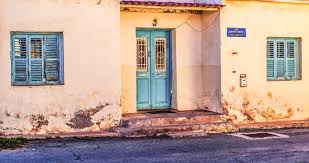 architecture road street house window home wall village color facade blue exterior door weathered old house