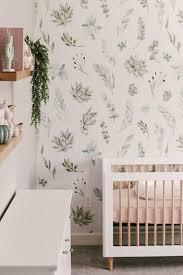 Nursery room with stylish walls and hardwood flooring. 17 Greenery Baby Nursery Ideas So Pretty And Fresh Nursery Design Studio