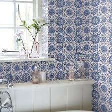 bathroom wallpaper. Faro Tile Wallpaper Bathroom
