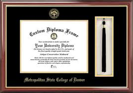 metro state college of denver diploma frames certificate framing  embossed seal tassel box mahogany diploma frame