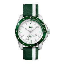 men s watches accessories lacoste men s durban green and white stripes nylon strap watch