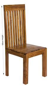 Petite Chunky Indian Sheesham Wood Pair Slatted Dining Chairs