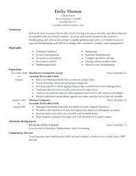 Accounting Clerk Resume Sample Entry Level Accounting Clerk Resume