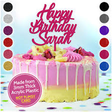Details About Happy Birthday Cake Topper Any Name Personalised Decoration Party Custom Acrylic