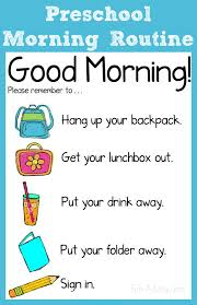Classroom Routine Chart Morning Routine Chart For The Preschool Classroom